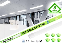 LED spuldze T8 24W / 150cm / 2640lm / 4000K  / CRI>80Ra /  VS PREMIUM  / Single / 01-823 :: LED spuldzes T8 150cm / 1500mm